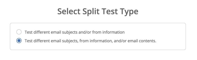 ActiveCampaign A / B Testing di tipi di test divisi