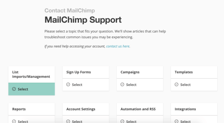 Supporto MailChimp