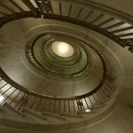 Spiral staircase leading to the 2nd floor courtroom of the U.S. Supreme Court