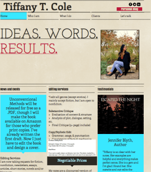 Tiffany T. Cole Website Layout