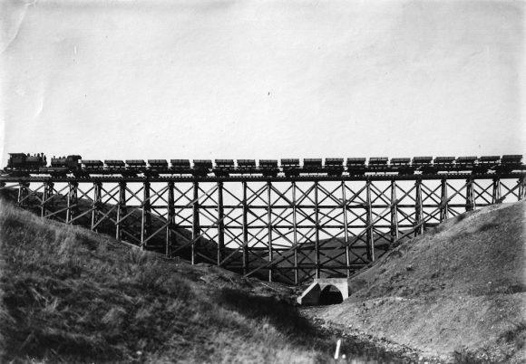 Indian Creek Bridge, inspected by an E,ngineer on Horseback, 1913