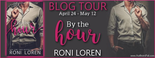 Blog tour banner for By the Hour, by Roni Loren