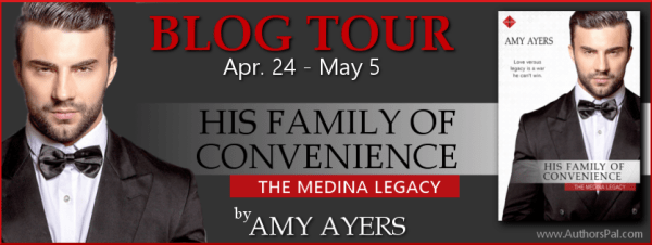 Blog Tour Banner with the front cover of His Family of Convenience, by Amy Ayers