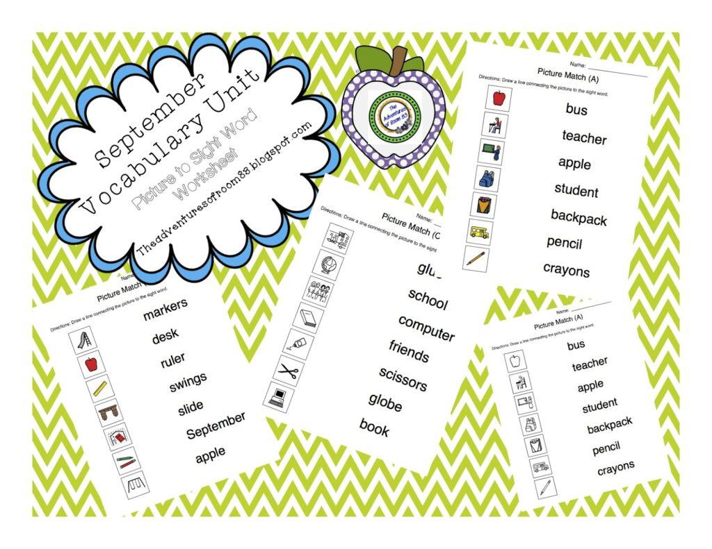 September Vocabulary Unit Autism Adventures