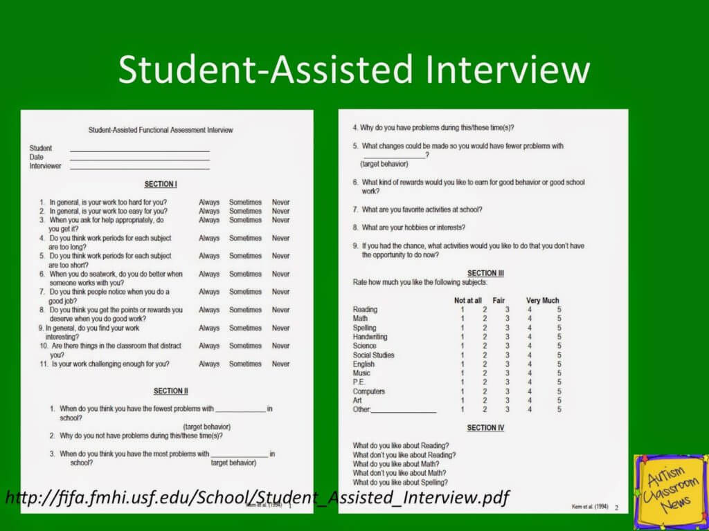 indirect assessments part resources step of steps to the student assisted interview is based on an article by kern et al 1994 and is designed to elicit information from the student about his her perceptions