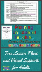 Planning Incideental Teaching Across the Classroom with free downloads from Autism Classroom Resources