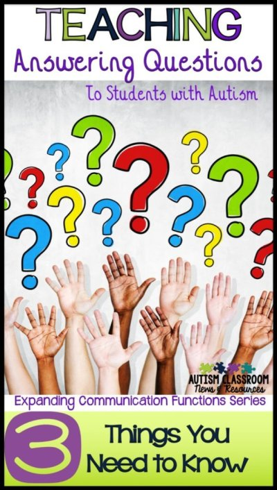 Teaching students to answer questions seems intuitive but for students with autism and other special education needs, it's not as easy as it seems. I'm sharing some of the things I've learned about teaching questions and strategies that might help.