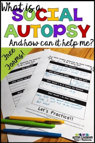 Social autopsies are a great way to debrief with students about anything from minor social errors to bigger behavioral issues.  This post explains how I use them and you can get a free one to try!