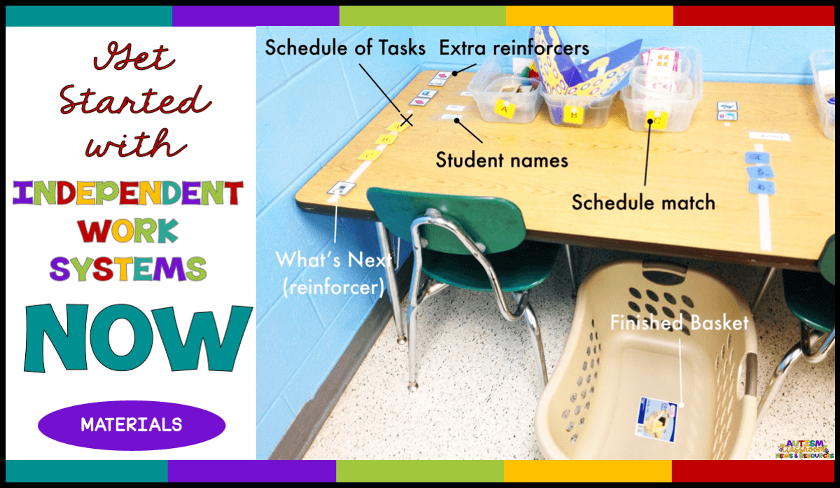 You can get started with independent work systems today! get these materials and then check out the tutorial that comes next and you'll be rockin' the independent work!  #autismclassroomresources #structuredworksystems