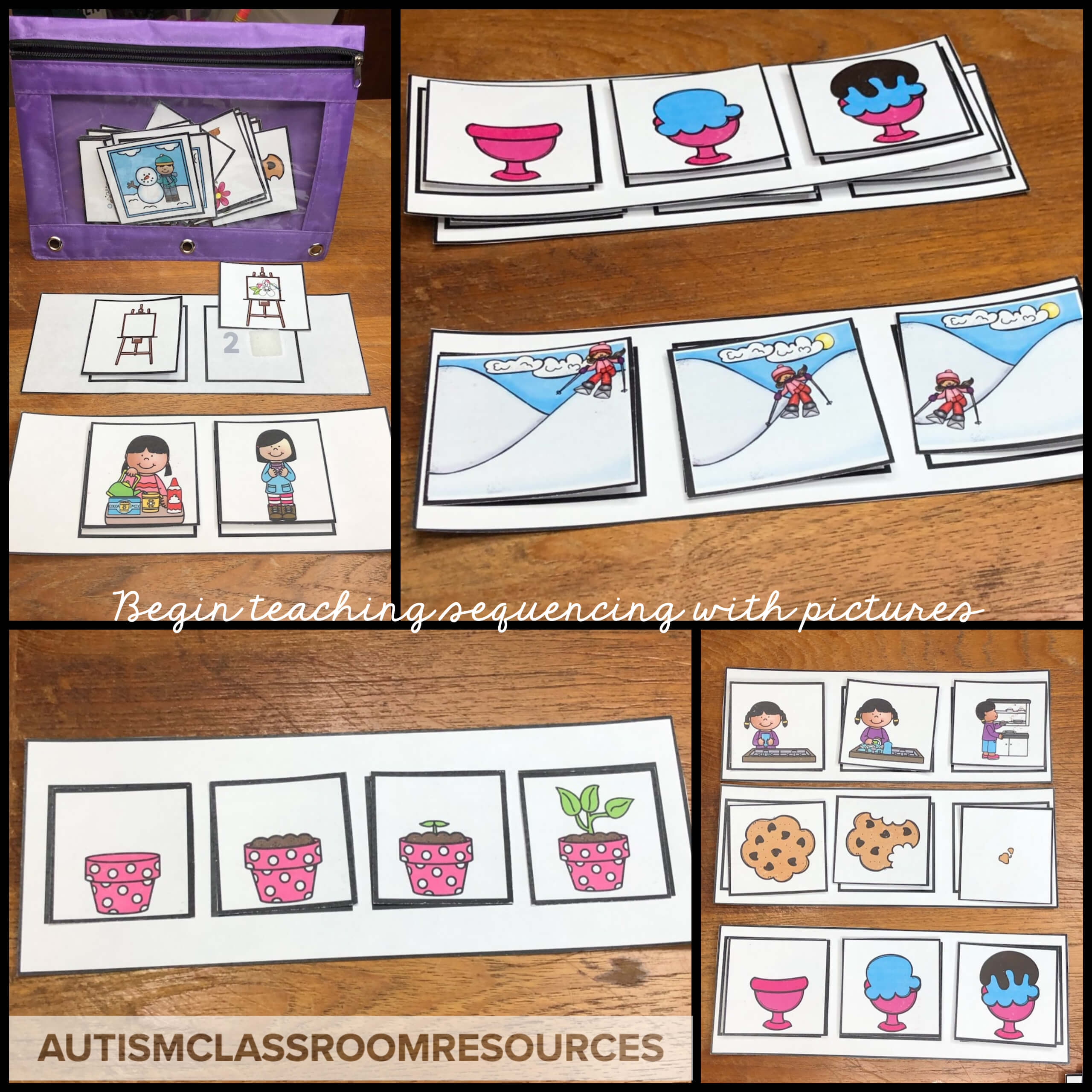 Many students with autism and other disabilities have difficulty figuring out what they should attend to in instructional materials. So, by paring it down to just the basics of pictures, they begin to learn the concept more quickly.