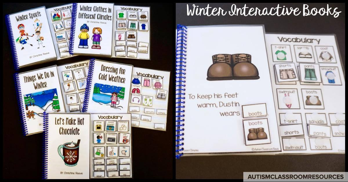 I love interactive books for lots of reason including keeping students engaged, giving students success in reading, and helping build seasonal vocabulary.  And we can get some literacy and communication goals in there too! Head to this post to learn more!