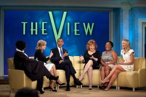 President Barack Obama records an episode of The View on July 28, 2010. Pictured, from left, are Whoopi Goldberg, Barbara Walters, Joy Behar, Sherri Shepherd, and Elisabeth Hasselbeck.Official White House Photo by Pete Souza