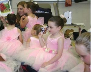 """""""Logan"""" (Sarah) backstage at the ballet recital."""