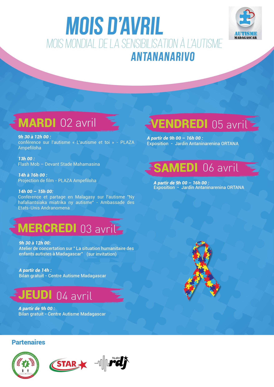 Programme de la semaine du mois de la sensibilisation à l'autisme