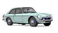 MG B GT Silver blue metalic