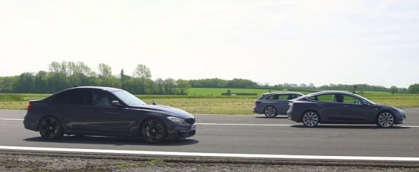 Tesla Model 3 Drag Races Audi RS4 and BMW M3, Demolition in Insane