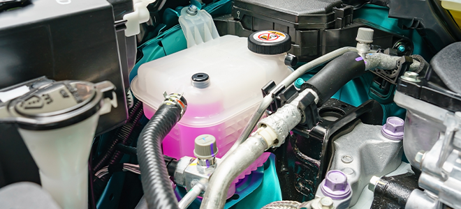 A coolant tank under the hood of a car