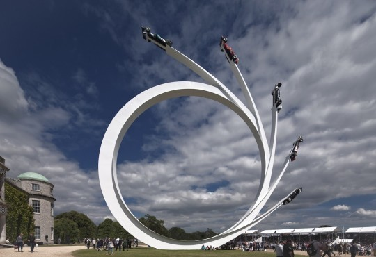 Central Sculptures of Goodwood – Cars Soaring to the Sky
