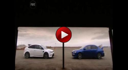 ford focus rs vs mitsubishi evo x
