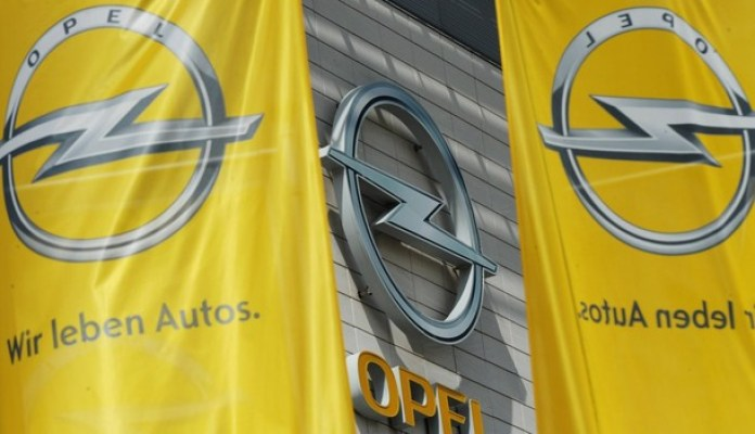 Flags with the logo of German carmaker O
