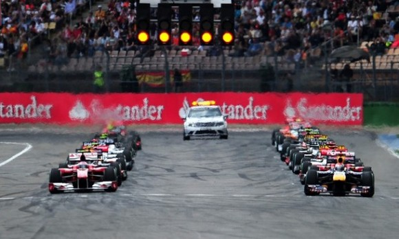 Drivers take the start of the Formula One German Grand Prix, at the Hockenheimring circuit on July 25, 2010 in Hockenheim. AFP PHOTO / FRED DUFOUR (Photo credit should read FRED DUFOUR/AFP/Getty Images)