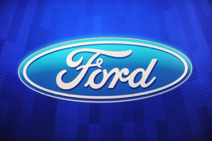 The Ford MOtor Company logo is sen durin