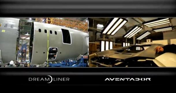Lamborghini Aventador and Boeing Dreamliner