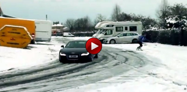 Snowboarding with an Audi R8