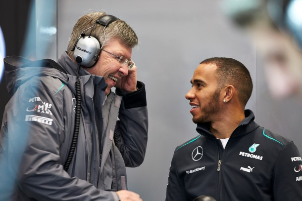 Ross Brawn and Lewis Hamilton