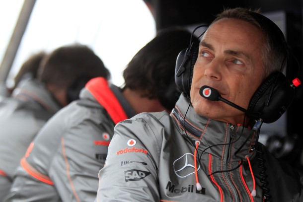 Team Principal Martin Whitmarsh on the pit wall