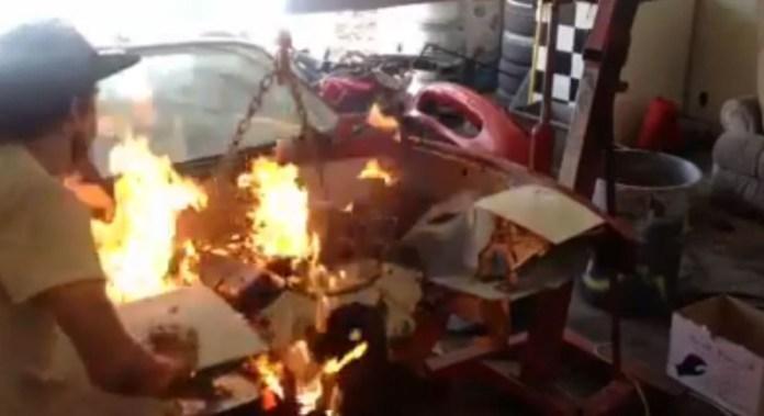 Kid lights himself on fire starting his Miata