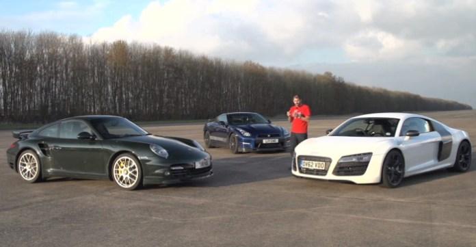 Audi R8 V10 Plus, Porsche 911 Turbo S, Litchfield GT-R. Track, Drag-Race