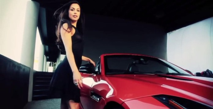 Playboy Playmate of the Year Raquel Pomplun with the Jaguar F-Type