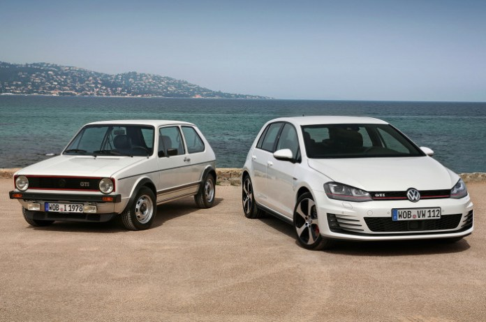 Volkswagen-Golf-MKI-and-MKVII-front-shot
