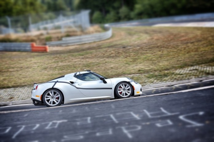 Alfa Romeo 4C supercar completes a lap of the Nordschleife (2)