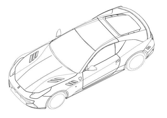 Mysterious hardcore two-seater Ferrari FF patent drawing (1)