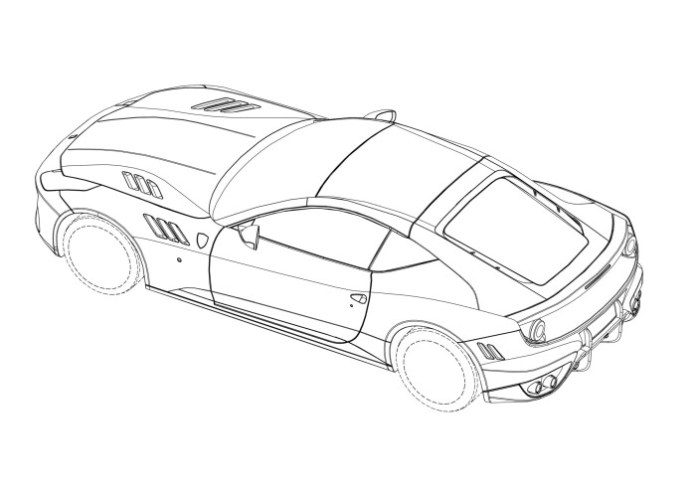 Mysterious hardcore two-seater Ferrari FF patent drawing (3)