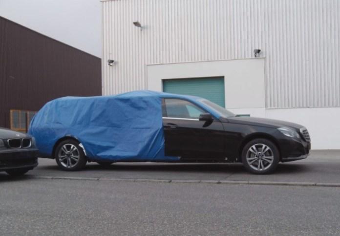 Extremely long wheelbase Mercedes-Benz E-Class facelift spied near Stuttgart
