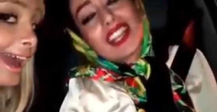 Iranian girls crash car while singing