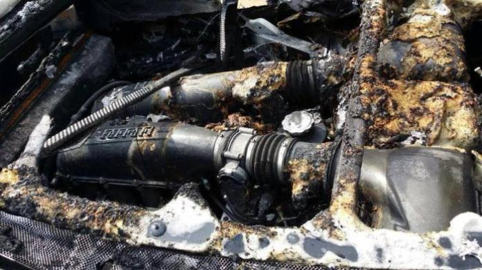 BMW X6 fire burns F430, Continental and Murcielago