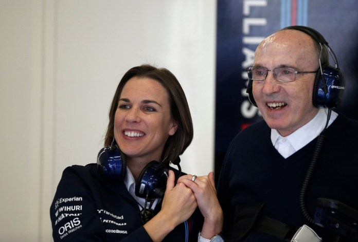 Red Bull Ring, Spielberg, Austria. Saturday 21 June 2014. Claire Williams, Deputy Team Principal, Williams F1, with Sir Frank Williams, Team Principal, Williams F1. World Copyright: Glenn Dunbar/LAT Photographic. ref: Digital Image _89P6501