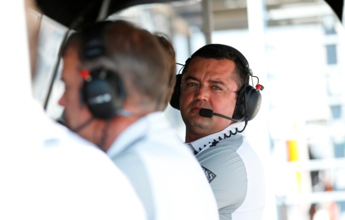 Sporting Director Eric Boullier on the pit wall.