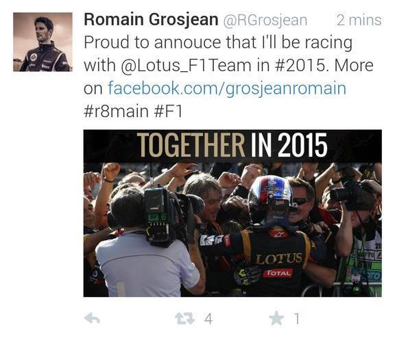 Grosjean Tweet