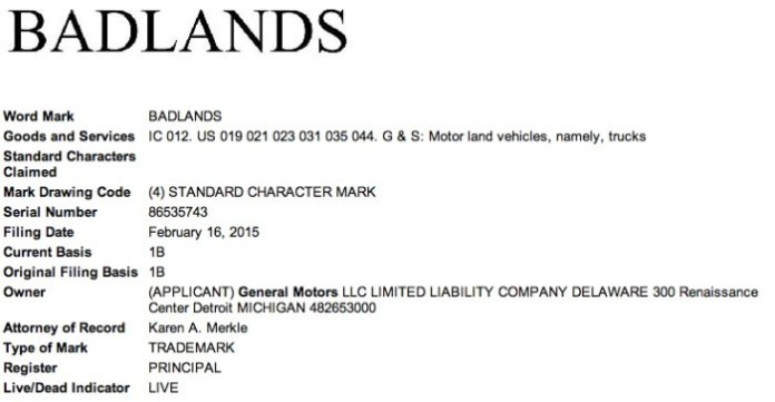 GM-Badlands-Trademark-Application-USPTO