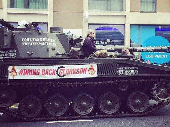Jeremy Clarkson protesters are driving a tank to the BBC