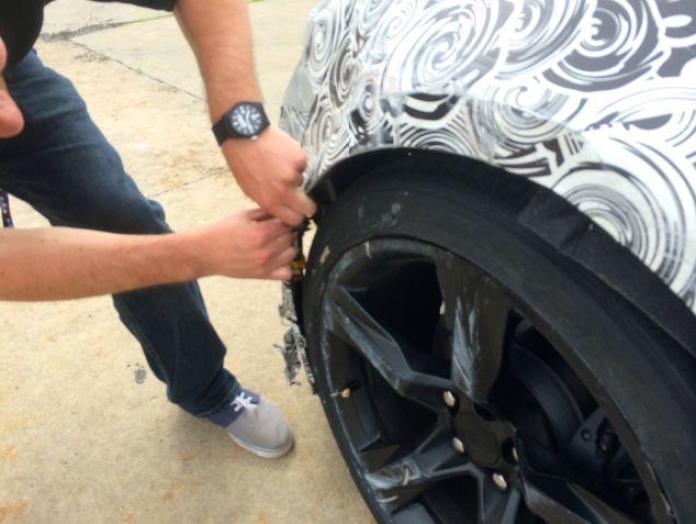 Crashed Chevrolet Camaro test prototype