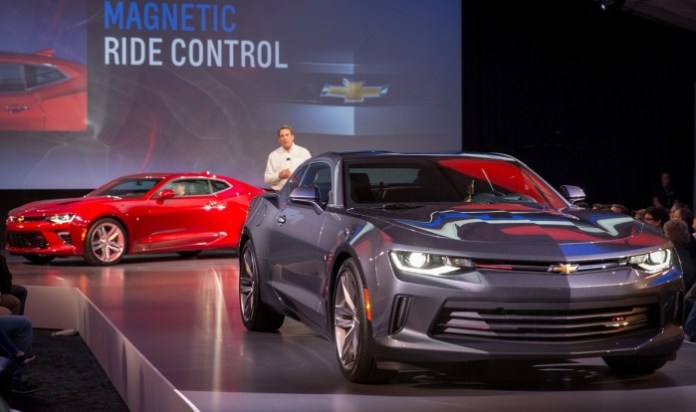 General Motors Executive Vice President Global Product Development Mark Reuss introduces the 2016 Chevrolet Camaro during a special event for employees Saturday, May 16, 2015 on Belle Isle in Detroit, Michigan. (Photo by John F. Martin for Chevrolet)