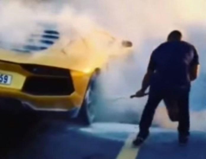 Lamborghini On Fire In Dubai