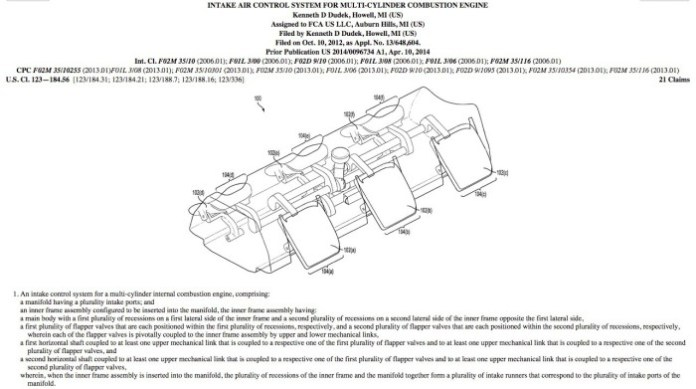 FCA intake control patent