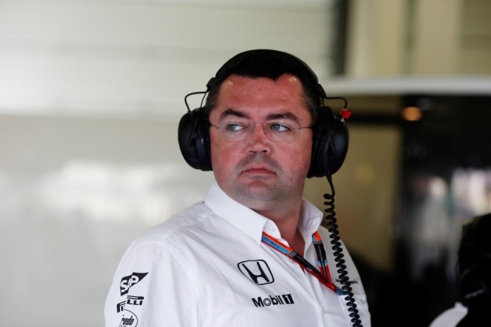 Eric Boullier in the garage.